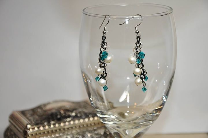 Handmade by Studio Artist Black Chain Swarovski Pearl Crystal Teal Bicone Drop Earrings