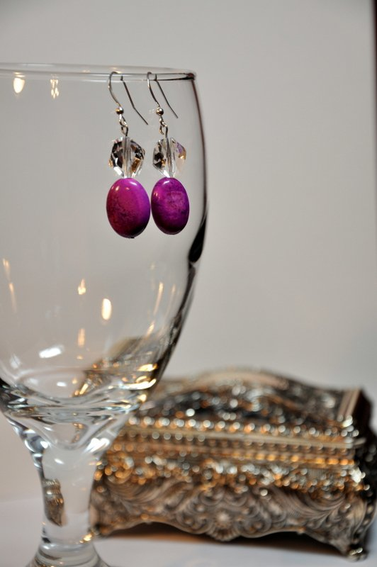 Hand Bead Designed Earrings by Studio Artist Clear Swarovski Helix Crystals Purple Dyed Gemstones