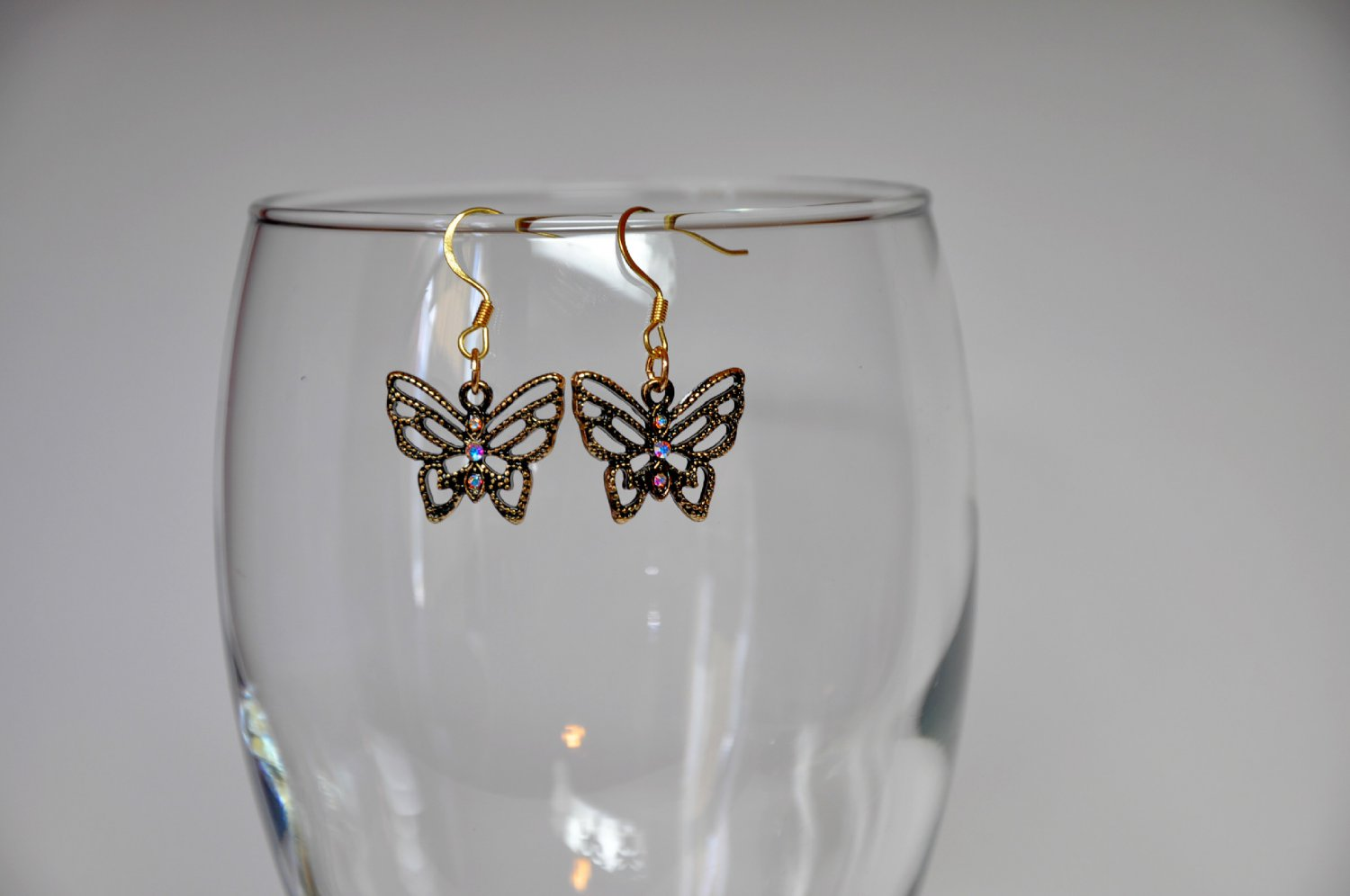 Gold Swarovski Butterfly Crystal Charm With Rhinestone Earrings