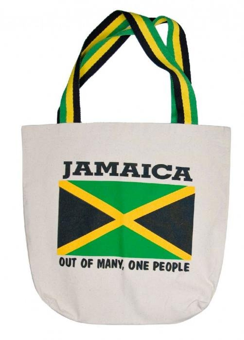 Jamaica flag tote bag with Jamaican colours on handles