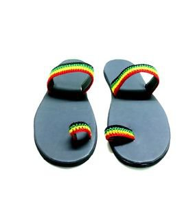 Jamaica Rasta Slippers - Adult Slippers Red/Green/Gold Straps (size 7-10)