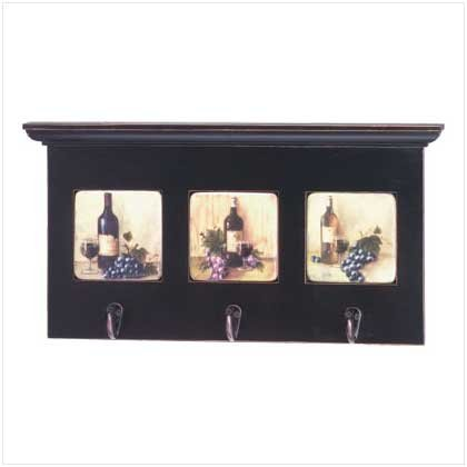 Wine-Motif Coat Rack With Shelf