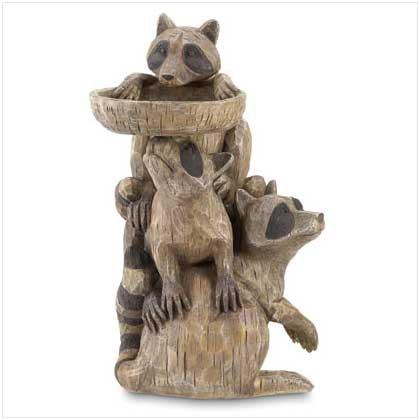 Raccoon Pedestal Birdfeeder