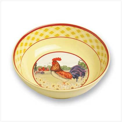 Dolomite Rooster Serving Bowl