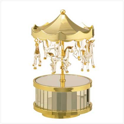 Musical Glass Circus Top Carousel