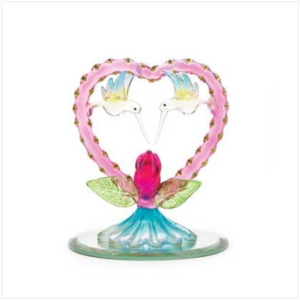 Spun Glass Heart with Two Hummingbirds
