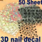 3D Design Tip Nail Art Sticker Decal Manicure Mix Color Flower