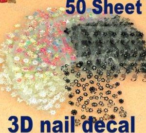 3D Design Tip Nail Art Sticker Decal Manicure Mix Color Flower