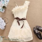 White, Pink or Abricot Sweet Pleated Party One Shoulder Off Chiffon Dress