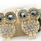 Women's Crystal Black Eye Owl Earrings Stud Rhinestone adorned