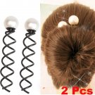 2 Pcs Bridal Faux Pearl Hair Clip Pin Twist Barrette