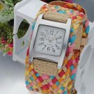 New Design Rope Braided Leather Cord Lady Bracelet Watch Epack Shipping