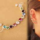 Design Elegance Crystal Earring Ear Clip Silver Color One pieceEar Cuff