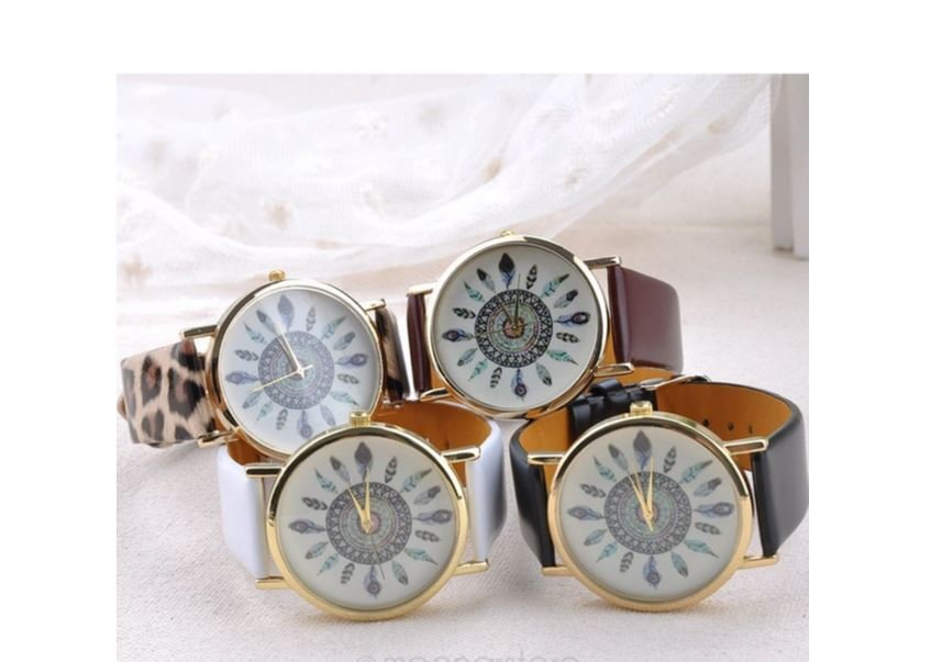 Indian Ethnic Style Peacock Feather Analog Watch For Women