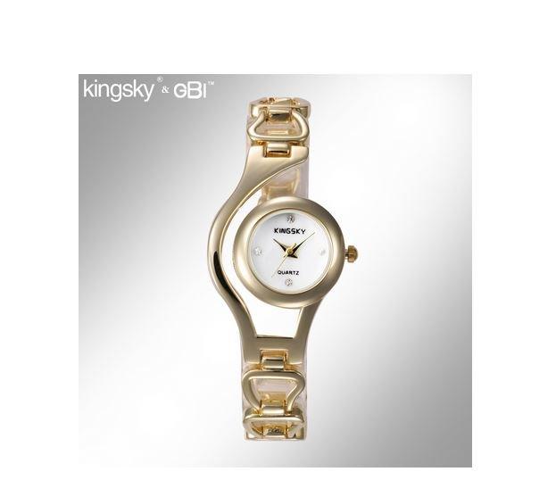 Gold Multi Links Women's Watch Quartz Alloy strap Rhinestone