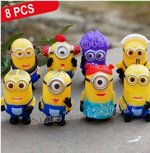 8 PCS/Set 5cm 3D Eye Despicable Me 2 Minions Figure Set PVC doll Toys