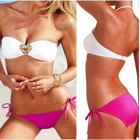 Jewelry Bandeau Padded Bra Push Up   Swimwear Bikini