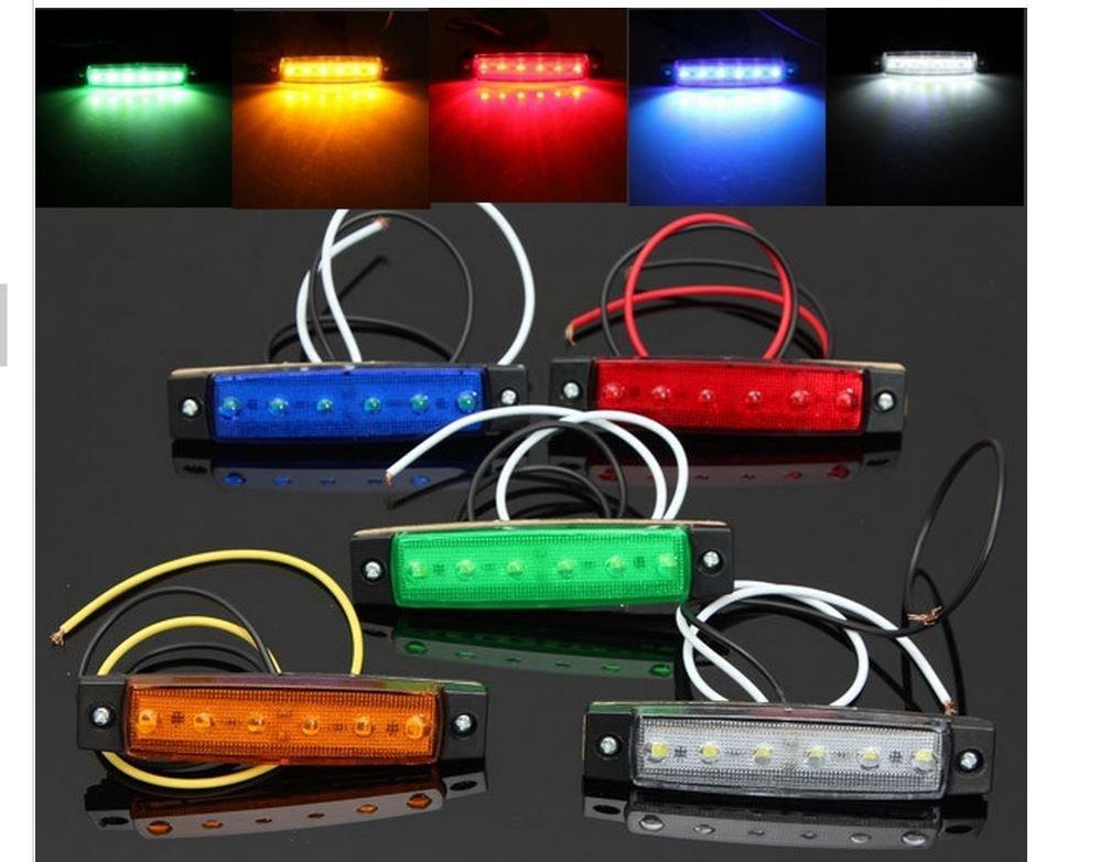12V 6 LED Bus Truck Trailer Lorry Side Markers Indicator Light