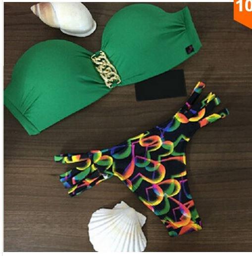Bikini fringe bandeau Swimwear Brazilian push up swimsuit