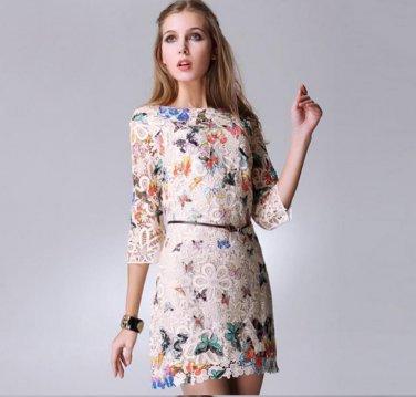 Women Lace Casual Dress Butterfly Print