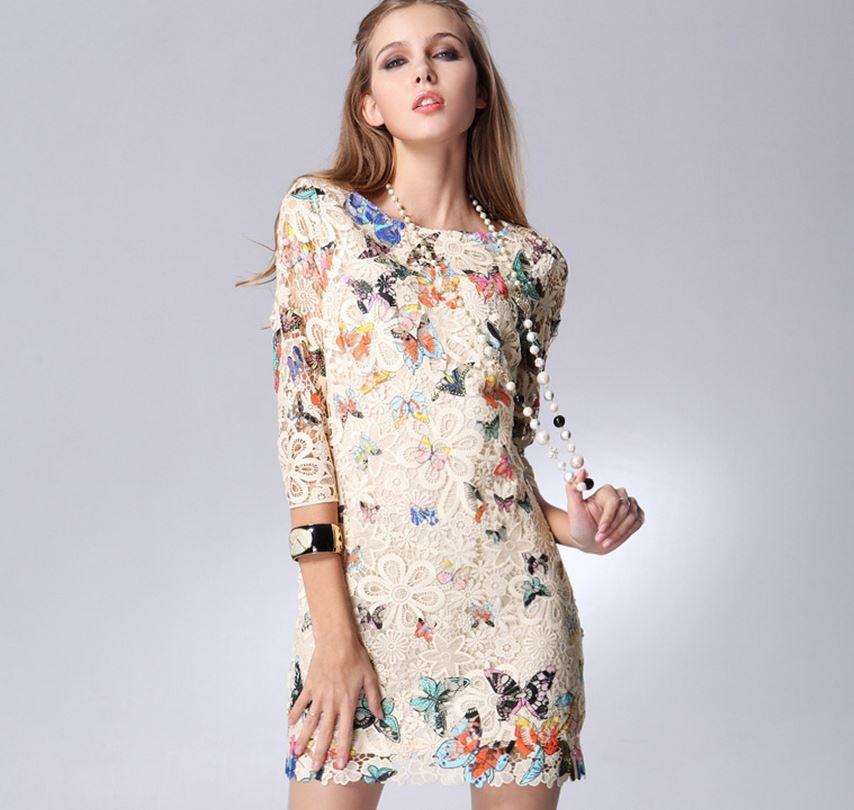 Beige Women Lace Casual Dress Butterfly Print