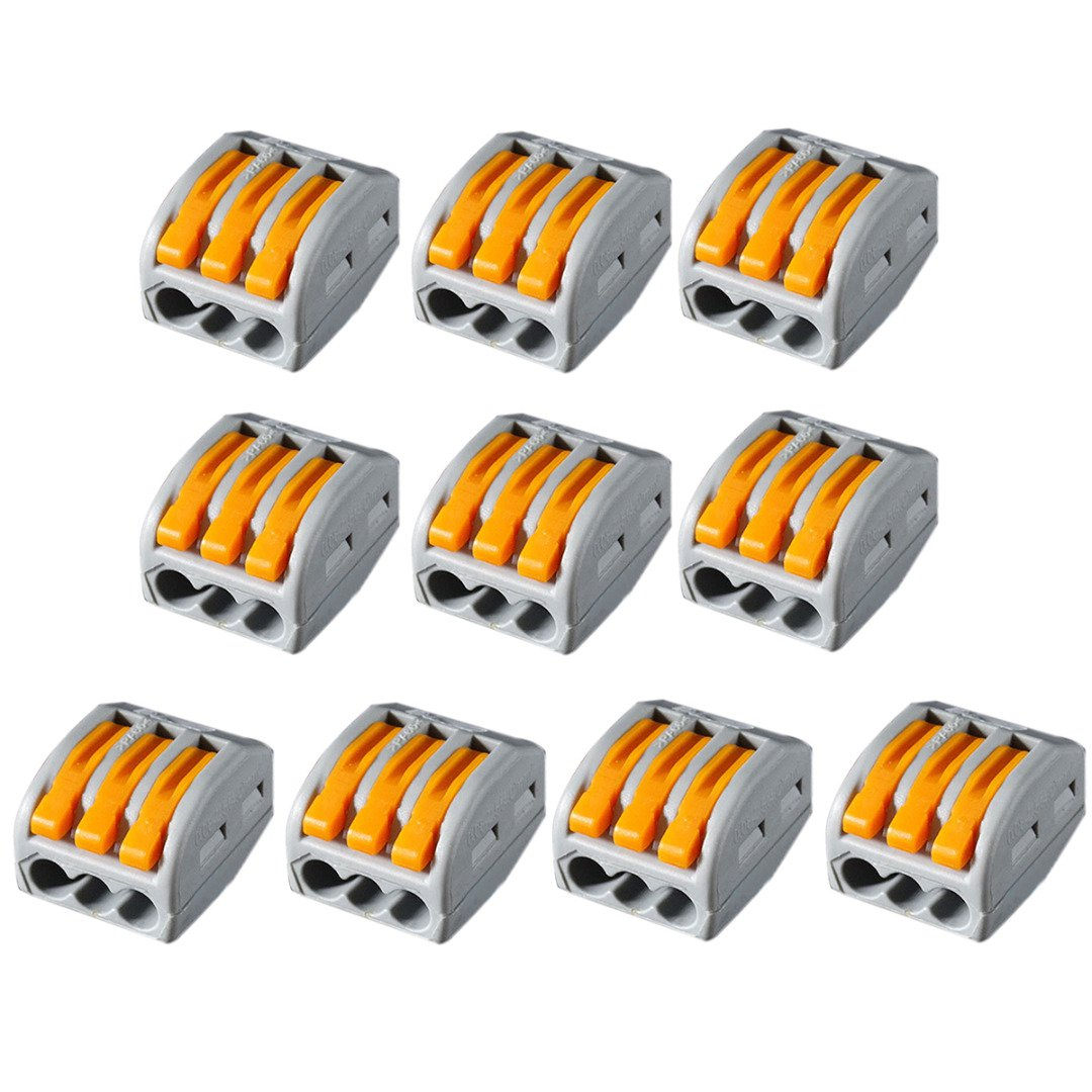 10pcs 3 Way Cable Wire Connector PCT-213 Reusable Lever Terminal Block