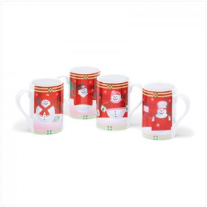Discount Christmas Shopping: 12 Oz Snowman Collection Mugs Set of 4