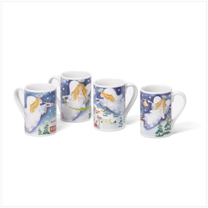 Discount Christmas Shopping: Christmas Angel Mugs 12 oz Set of 4
