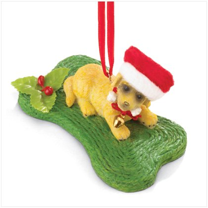 Discount Christmas Shopping: Christmas Puppy with Bone Ornament