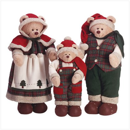 Discount Christmas Shopping: Fabric Christmas Bears Set / Set of 3