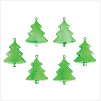 Discount Christmas Shopping: Green Christmas Tree Ornaments Set of 6