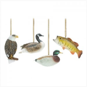 Discount Christmas Shopping: Hunting Lodge Ornaments Fish Duck Eagle   Set of 4