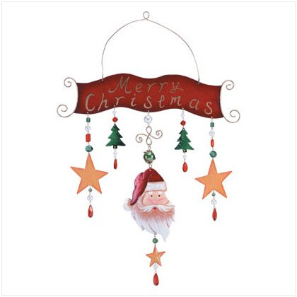 Discount Christmas Shopping: Metal Santa Merry Xmas Plaque