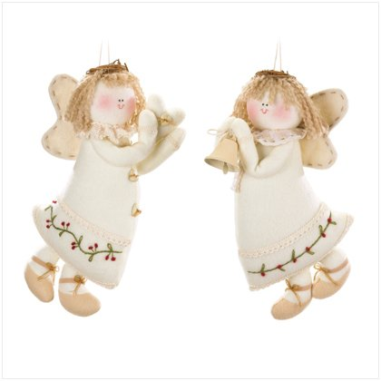 Discount Christmas Shopping: Plush Angel Ornaments Set of 2