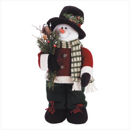 Discount Christmas Shopping: Posable Plush Dressed Snowman with Tophat