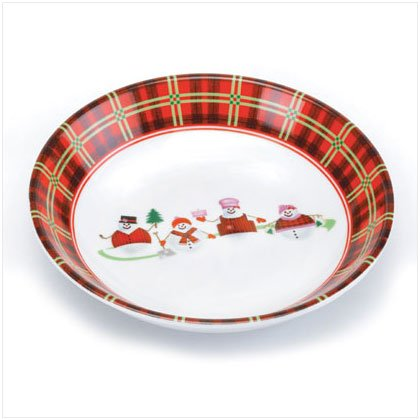 Discount Christmas Shopping: Porcelain Perfectly Plaid Snowman Candy Dish