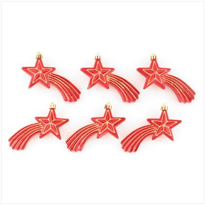 Discount Christmas Shopping: Red Shooting Stars Ornaments Set of 6