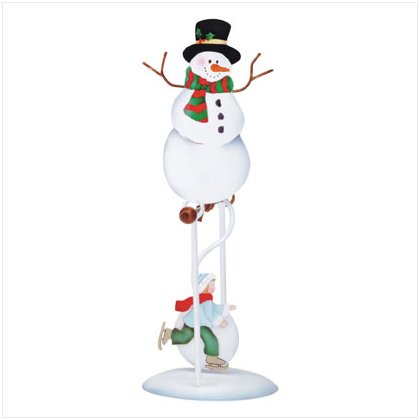 Discount Christmas Shopping: Snowman and Skater Swinging Sculpture