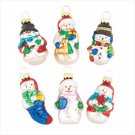 Discount Christmas Shopping: Glass Snowman Ornaments Set of 6