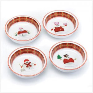 Discount Christmas Shopping:Perfectly Plaid Snowman Collection Bowls