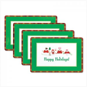 Discount Christmas Shopping: Perfectly Plaid Snowman Vinyl Placemats Set of 4