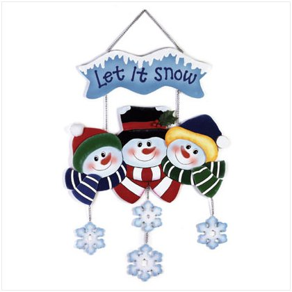 Discount Christmas Shopping: Wood Snowman Wall Plaque Let It Snow