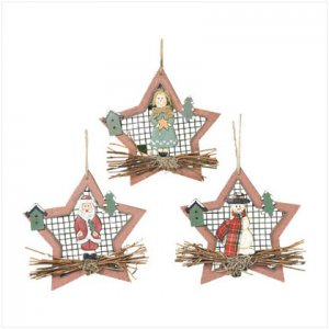 Discount Christmas Shopping: Wood Star Christmas Ornaments Set of 3