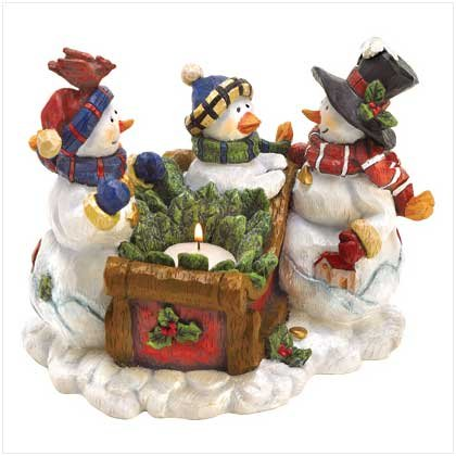 Discount Christmas Shopping: Snowman Family Candleholder
