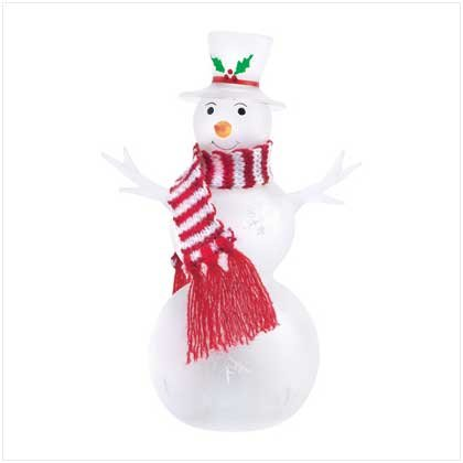 Discount Christmas Shopping: Snowman Glass Figure  With LED Base