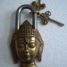ANTIQUE Style LORD BUDDHA Type  Padlock - Lock with Key - Brass Made (A)