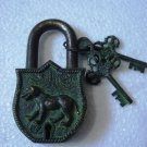 ANTIQUE Style DOG Type Padlock - Lock with Key - Brass Made