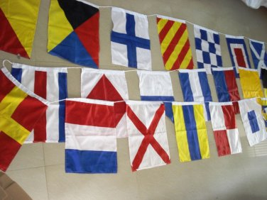 "Marine Navy Signal Code FLAG Set - 15"" X 18"" -Total 26 flag - LENGTH 40 FEET"