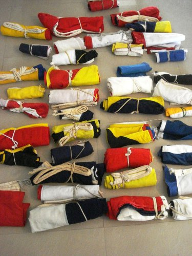 VINTAGE Naval Signal Flag SET -  SHIP'S 100% ORIGINAL - Set of Total 14 flag(77)