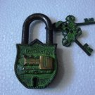 ANTIQUE Style LOCOMATIVE TRAIN  Type Padlock - Lock with Key - Brass Made